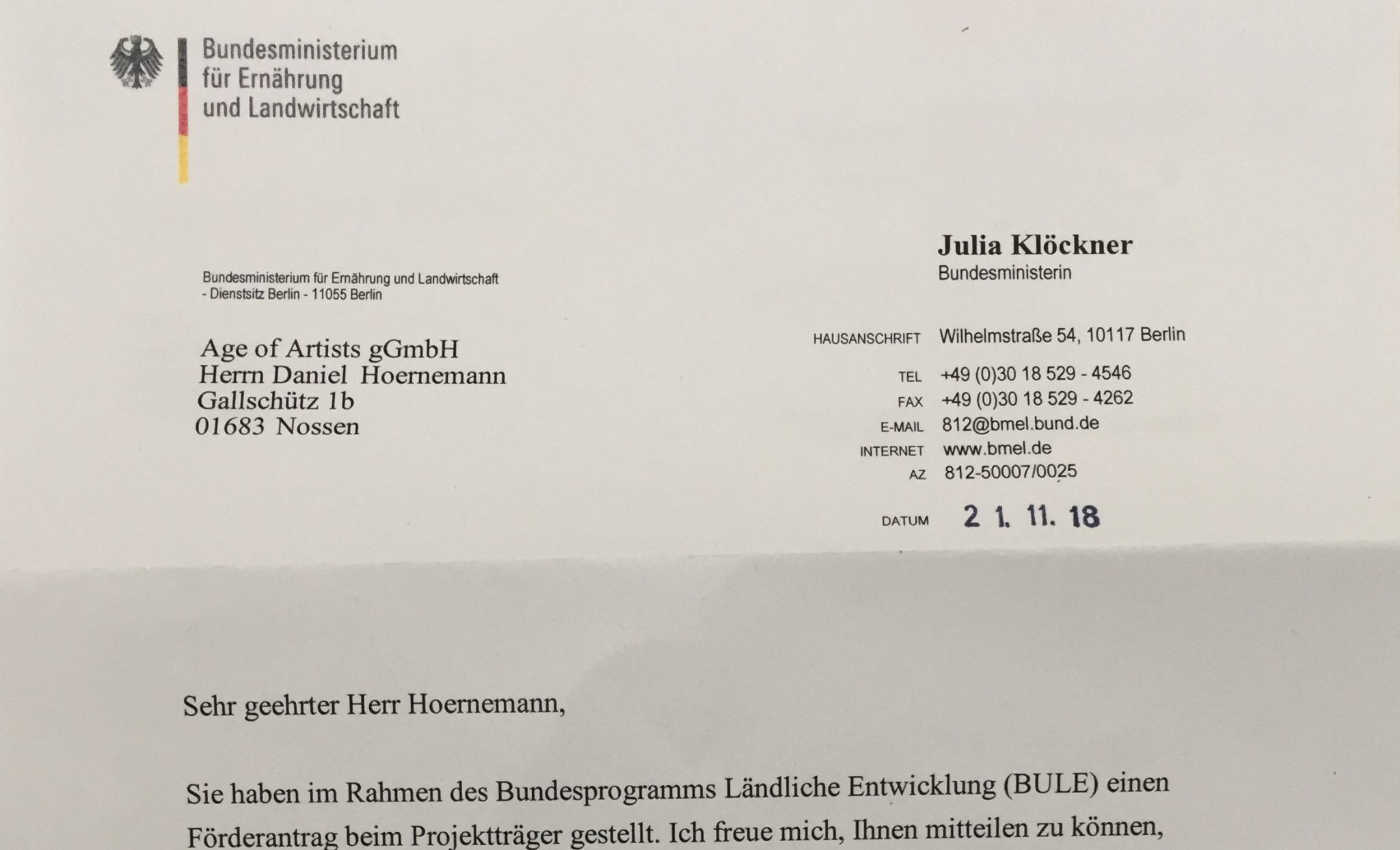 Post aus dem Ministerium